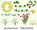 mimosa flowers and spring plant ... | Shutterstock .eps vector #788128546