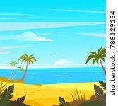 summertime on the beach. palms... | Shutterstock . vector #788129134