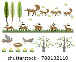 fox and a hare.image of spring. ... | Shutterstock .eps vector #788132110