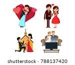 romantic valentine couple...   Shutterstock .eps vector #788137420
