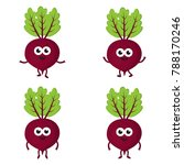 set with cartoon beets  red... | Shutterstock .eps vector #788170246