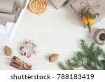 scandinavian christmas flat lay | Shutterstock . vector #788183419