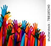 colorful silhouettes hands up...   Shutterstock . vector #788185240