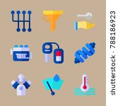 icon set about car engine with... | Shutterstock .eps vector #788186923
