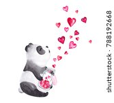 hand drawn watercolor panda... | Shutterstock . vector #788192668