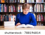 happy senior woman  with books...   Shutterstock . vector #788196814