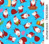 christmas seamless pattern with ... | Shutterstock . vector #788203864