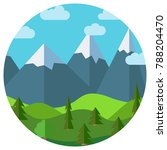 cartoon mountain landscape in... | Shutterstock . vector #788204470