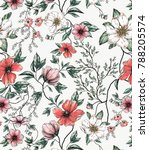Stock photo red and white flower allover on off white background hand drawn asia style for spring summer 788205574