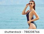 slim attractive woman posing in ...   Shutterstock . vector #788208766