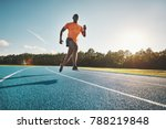 focused young african runner in ... | Shutterstock . vector #788219848