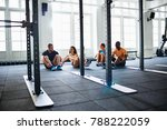 diverse group of fit people... | Shutterstock . vector #788222059
