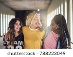 laughing group of diverse young ... | Shutterstock . vector #788223049