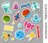 set of stickers with space... | Shutterstock . vector #788231473