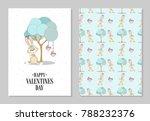 romantic set. postcard...   Shutterstock .eps vector #788232376
