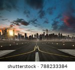 empty airplane runway heading... | Shutterstock . vector #788233384