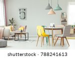 colorful lamps above wooden... | Shutterstock . vector #788241613