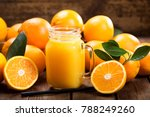 glass jar of fresh orange juice ... | Shutterstock . vector #788249260