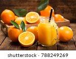 glass jar of fresh orange juice ... | Shutterstock . vector #788249269