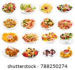 set of various plates of food... | Shutterstock . vector #788250274
