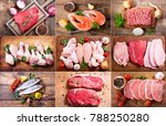 collage of various fresh meat ... | Shutterstock . vector #788250280