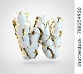 cracked letter w uppercase. 3d...   Shutterstock . vector #788254930