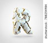 cracked letter r uppercase. 3d... | Shutterstock . vector #788254984