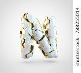 cracked letter n uppercase. 3d...   Shutterstock . vector #788255014