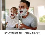 man and little boy with shaving ... | Shutterstock . vector #788255794