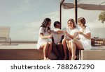 joyful young bride pouring... | Shutterstock . vector #788267290