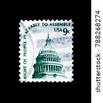 Small photo of MOSCOW, RUSSIA - NOVEMBER 24, 2017: A stamp printed in USA shows Capitol Dome, Americana Issue serie, circa 1975