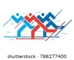 cross country skiers.... | Shutterstock .eps vector #788277400