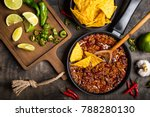 chili con carne in frying pan... | Shutterstock . vector #788280130