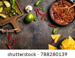 chili con carne in frying pan... | Shutterstock . vector #788280139