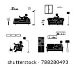 stick figure resting at home... | Shutterstock .eps vector #788280493