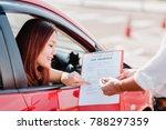 insurance agent hand over car... | Shutterstock . vector #788297359