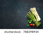 fresh green and white asparagus ... | Shutterstock . vector #788298934