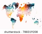 low poly colorful world map | Shutterstock . vector #788319208