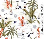 seamless pattern summer... | Shutterstock .eps vector #788322358