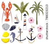 set of summer vibes red lobster ... | Shutterstock .eps vector #788323213