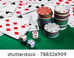 poker cards  chips  dice on the ... | Shutterstock . vector #788326909