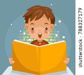 children reading a book.  boy  ... | Shutterstock .eps vector #788327179