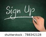 sign up chalkboard hand write...   Shutterstock . vector #788342128