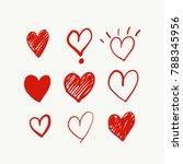 heart doodles  vector... | Shutterstock .eps vector #788345956