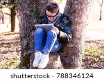 elegant child plays with a... | Shutterstock . vector #788346124