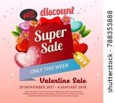floral valentine sale poster | Shutterstock .eps vector #788353888