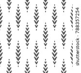 Seamless pattern for home decor ideas. Ikat chevron wallpaper. Ethnic, indian, aztec fashion style. Pillow textile decoration. Tribal vector background. Black and white graphic design. | Shutterstock vector #788357254