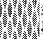 Herringbone seamless pattern for home decor ideas. Fashion ikat chevron wallpaper. Pillow textile decoration. Tribal vector background. Black and white graphic design. | Shutterstock vector #788357278