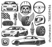 vintage car racing icons set... | Shutterstock .eps vector #788359456