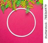 round frame with trendy summer... | Shutterstock . vector #788364979